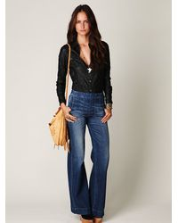 Free People - Blue Darted High Waist Jeans - Lyst