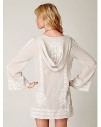 Free People - White Embroidered Flora Pullover - Lyst