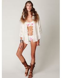 Free People | White Long Sleeve Embroidered Hi Back Buttondown | Lyst
