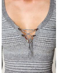 Free People | Gray Lace Up Freckles Pullover | Lyst
