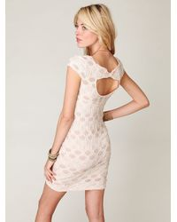 Free People | Natural Short Sleeve Bow Back Dress | Lyst