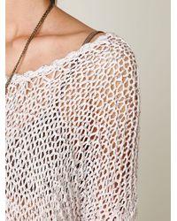Free People | White Tape Yarn Beach Sweater | Lyst