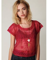 Free People | Embroidered Mesh Crop Top | Lyst