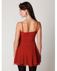 Free People | Red Scallop Strapless Dress | Lyst