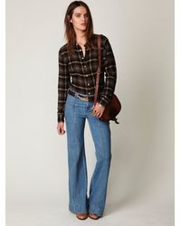 Free People | Blue Super 70s Wideleg Jean | Lyst