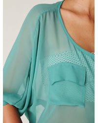 Free People - Blue 2-pocket Sheer Crop Top - Lyst