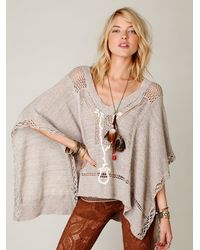 Free People | Gray Kona Pointelle Poncho | Lyst