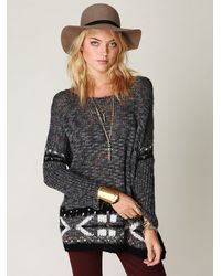 Free People | Gray Oversized Fairisle Trimmed Sweater | Lyst