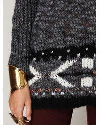 Free People | Gray Oversized Fairisle Trimmed Sweater | Lyst