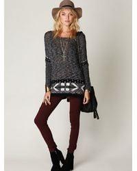 Free People - Gray Oversized Fairisle Trimmed Sweater - Lyst
