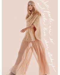Free People | Pink Last Town Cable Poncho | Lyst