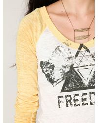 Free People | White Freedom Baseball Tee | Lyst