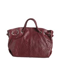 Furla - Red Cherry Ostrich Embossed Leather Carmen Tote - Lyst