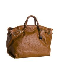 Furla | Brown Orange Ostrich Embossed Leather Carmen Tote | Lyst
