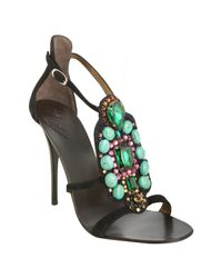 Giuseppe Zanotti | Black Suede Jewel Embellished Strappy Sandals | Lyst