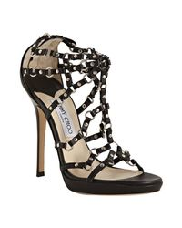 Jimmy Choo | Black Liara Studded Leather Strappy Sandals | Lyst