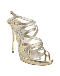 Jimmy Choo | Metallic Gold Glitter Leather Dart Strappy Sandals | Lyst