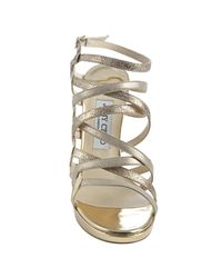Jimmy Choo - Metallic Gold Glitter Leather Dart Strappy Sandals - Lyst