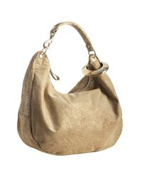 Jimmy Choo | Natural Gold Glitter Suede Solar Bangle Hobo | Lyst