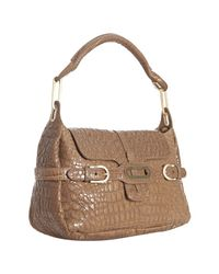 Jimmy Choo | Natural Nude Croc Embossed Leather Tianna Shoulder Bag | Lyst