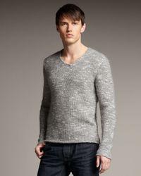 John Varvatos | Gray Marled V-neck Sweater for Men | Lyst