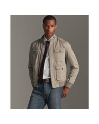 John Varvatos | Natural Dried Sage Cotton Bomber Jacket for Men | Lyst