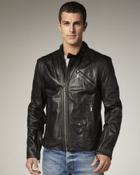 Just Cavalli - Black Leather Biker Jacket for Men - Lyst