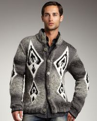 Just Cavalli | Gray Diamond-knit Cardigan for Men | Lyst