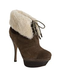 L.A.M.B. | Brown Suede Pier Shearling Ankle Booties | Lyst