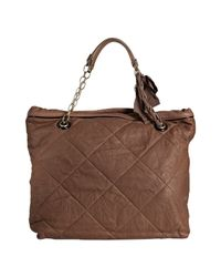Lanvin | Brown Camel Quilted Leather Ribbon Chain Bag | Lyst