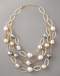 Majorica | White Multi-strand Baroque Pearl Necklace | Lyst