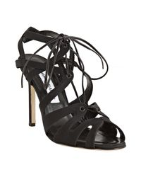 Manolo Blahnik   Black Fabric Netochka Lace-up Sandals   Lyst