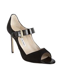 Manolo Blahnik | Black Suede Prejuda Mary Jane Peep Toe Pumps | Lyst