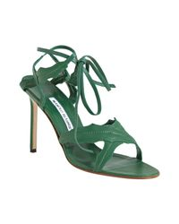 Manolo Blahnik | Green Leather Nevka Ankle Tie Leaf Sandals | Lyst