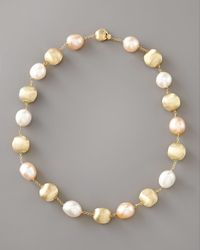 Marco Bicego - White Pearl & Gold Station Necklace - Lyst
