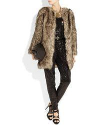 MICHAEL Michael Kors - Brown Faux Fur Coat - Lyst