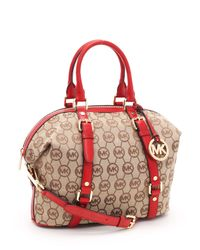 Michael Kors | Brown Medium Bedford Monogram Satchel, Beige/red | Lyst