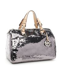 Michael Kors | Metallic Large Grayson Sequin Satchel, Gunmetal | Lyst