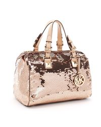 Michael Kors | Metallic Large Grayson Sequin Satchel, Suntan | Lyst