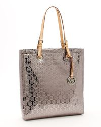 Michael Kors - Monogram Mirror Metallic North South Tote, Nickel - Lyst