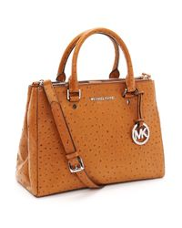 Michael Kors | Brown Medium Bedford Dressy Ostrich Embossed Tote, Luggage | Lyst