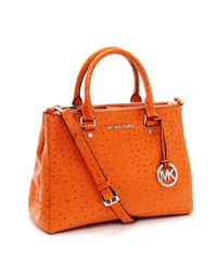 Michael Kors | Orange Medium Bedford Ostrich Embossed Dressy Tote, Tangerine | Lyst