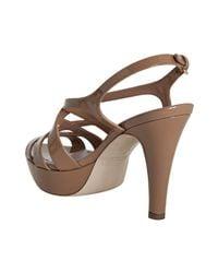 Miu Miu - Brown Strappy Patent Platform Sandal - Lyst