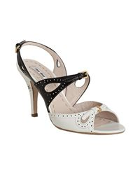 Miu Miu | White and Black Perforated Leather Slingback Sandals | Lyst