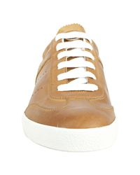 Moncler - Brown Leather Biarritz Sneakers for Men - Lyst