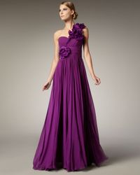 Notte by Marchesa | Purple One-shoulder Flower-detail Gown | Lyst