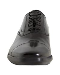 Prada - Black Polished Leather Seamed Cap Toe Oxfords for Men - Lyst