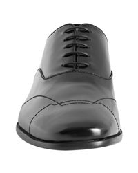 Prada - Black Polished Leather Stitch Detail Square Toe Oxfords for Men - Lyst