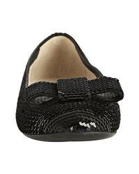 Prada - Black Sequined Bow Flats - Lyst