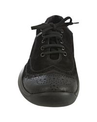 Prada | Sport Black Suede Distressed Perforated Leather Lace Up Shoes for Men | Lyst